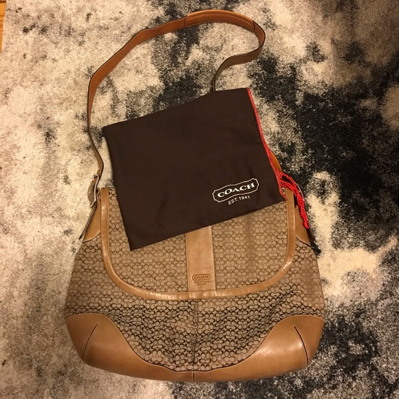 Leather and canvas Coach messenger bag